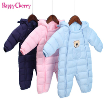 цена на Winter Warm Baby Girl Boy Romper Newborn Cotton Down Jacket Jumpsuits Infant Hooded Snowsuit Clothes Kids Outerwear for 0-12M