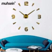 Muhsein 2017 Diy Creative Wall clock Living room Modern design watch Horloge murale Acrylic mirror 3d Stickers Free Shipping