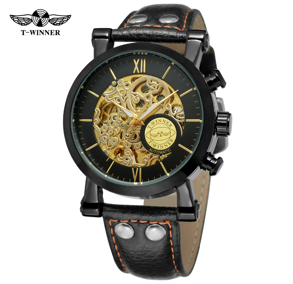 WINNER Brand Mens Skeleton Automatic Mechanical Watch Leather Strap T-WINNER Wristwatch Montre Homme Gift Box Relogio Releges k colouring women ladies automatic self wind watch hollow skeleton mechanical wristwatch for gift box