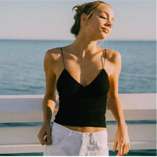 948c90f0ff Sexy V neck Slim fit Tight Camis 2016 New Brandy Melville crop Top  Camisetas Tank Vest Striped Line Short Tee
