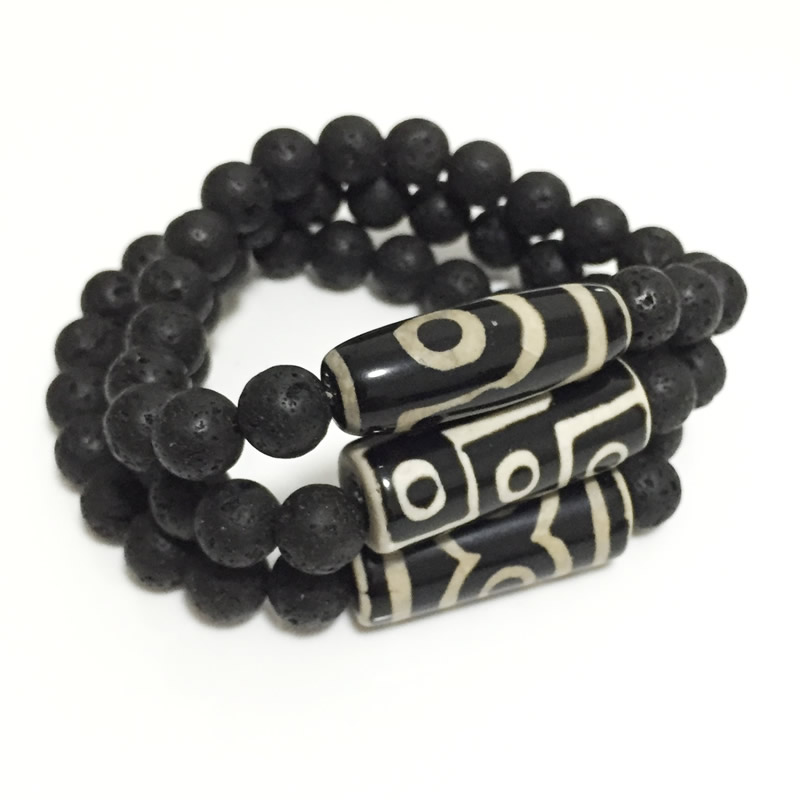 Energy Stone Natural Tibetan Dzi Agates Bracelets Vintage Black Lava Jewelry Charm Nine Eye Three Eye Agates Bracelets For Male