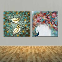 Hand Painted Two Panles Abstract Animals Art Palette Knife Peacock Birds Oil Painting On Canvas Peacock