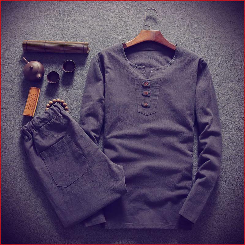 Grande taille hommes t-shirt ensemble M-8XL 9XL t-shirt lin à manches longues grand t-shirts décontracté col en v deux pièces costume t-shirts ensembles pour 150 kg