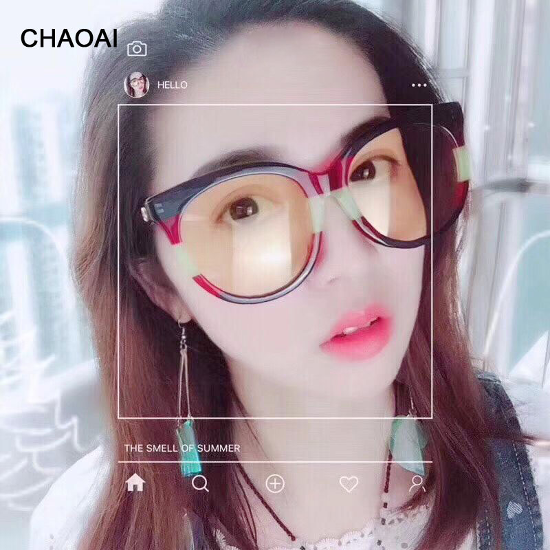 CHAOAI Women's Sunglasses  Round Sun Glasses for Female New 2019 Eyewear Punk Designer Cute Girl Fashion Eyeglass