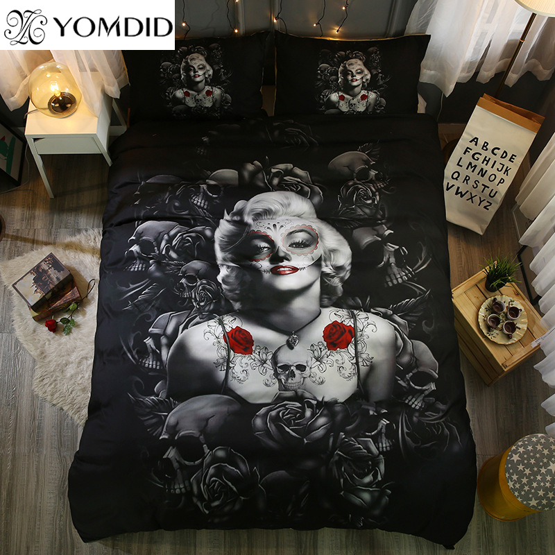 3D Skull Bedding Set Halloween Bedding Set marylin monroe & Skull Duvet Cover pillowcase Set Twin Full Queen King Bed linens set