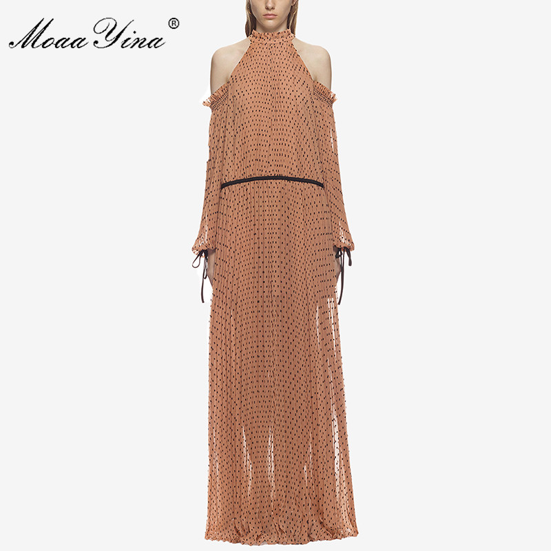 MoaaYina Fashion Designer Dress Spring Women Stand collar Lantern Sleeve Dot Print pleated offer shoulder halter Maxi Dresses