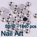 1440 unids SS12 Crystal Rhinestones Del Arte Del Clavo Con Redondo Flatback Para DIY Uñas de Arte Bolsas de Zapatos Y Vestido de Novia