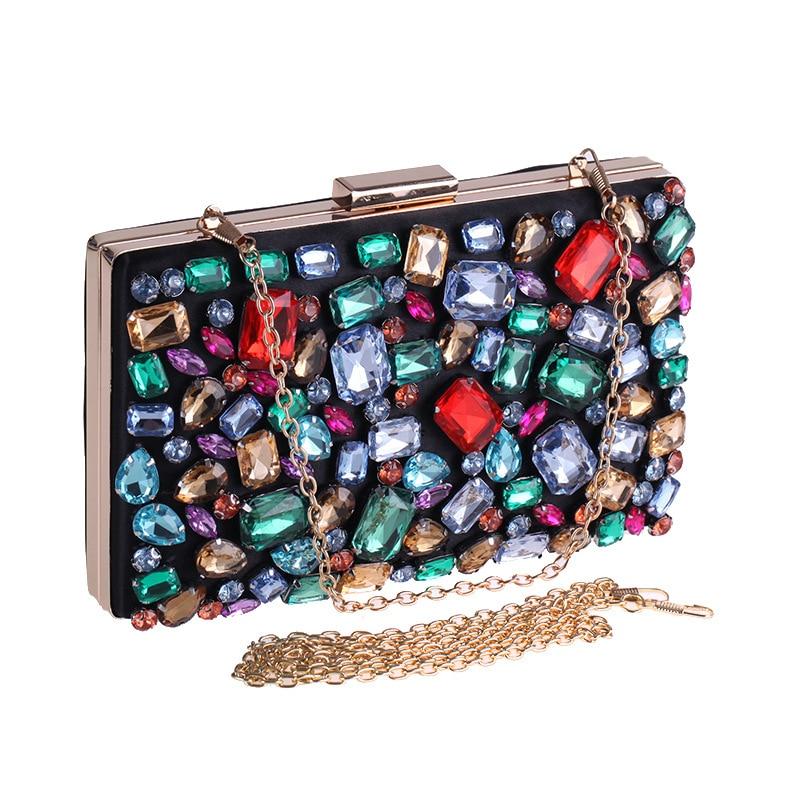 Flap Design Women Evening Bag Chain Shoulder Messenger Handbags Acrylic Diamonds Small Day Clutch Box Holder chanel boy flap bag