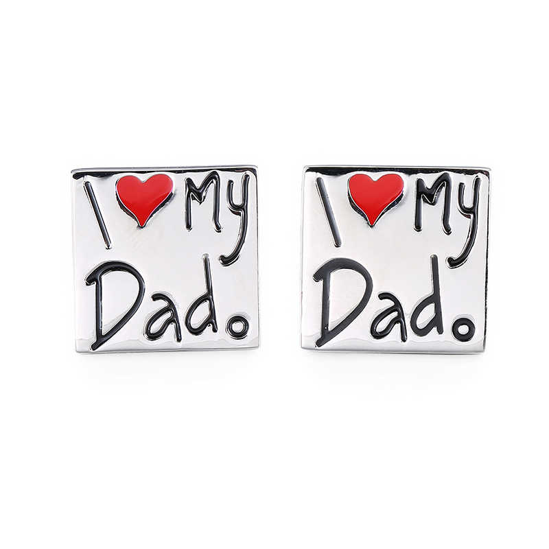 Новые высококачественные мужские брендовые Запонки/двумерный код/I love my dad/pen/beard/finger/camera запонки