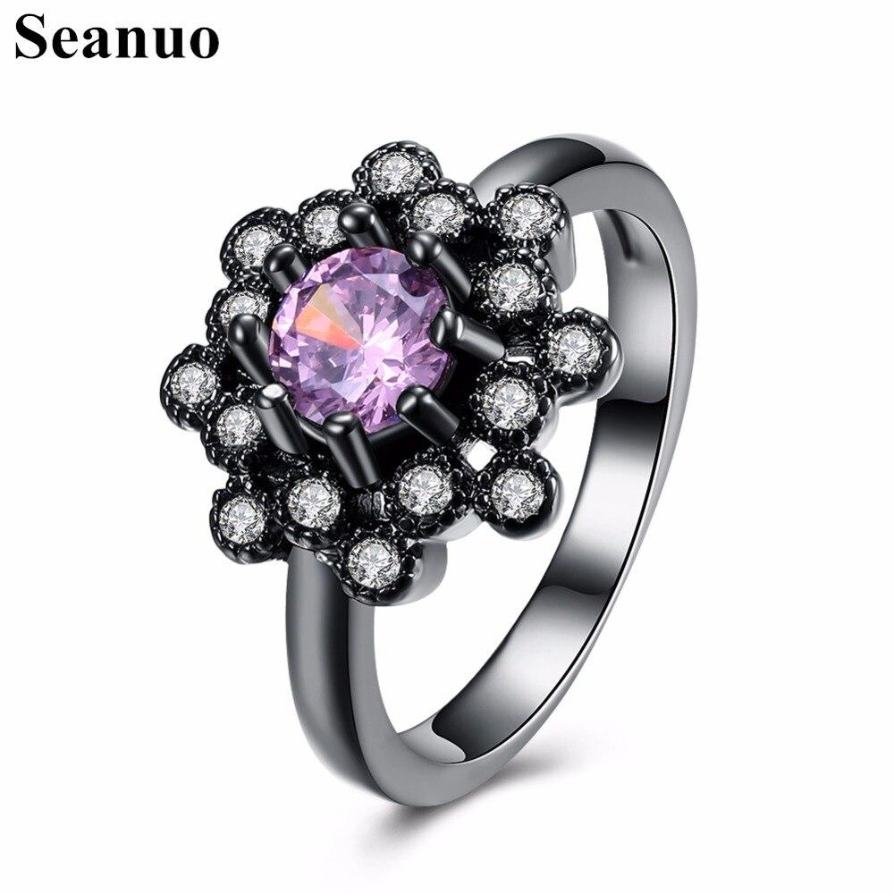 Seanuo Opening Flower Austrian Rhinestone Women Wedding Ring Jewelry Fashion Cubic Zirconia Lady Anniversary Finger Ring Girls