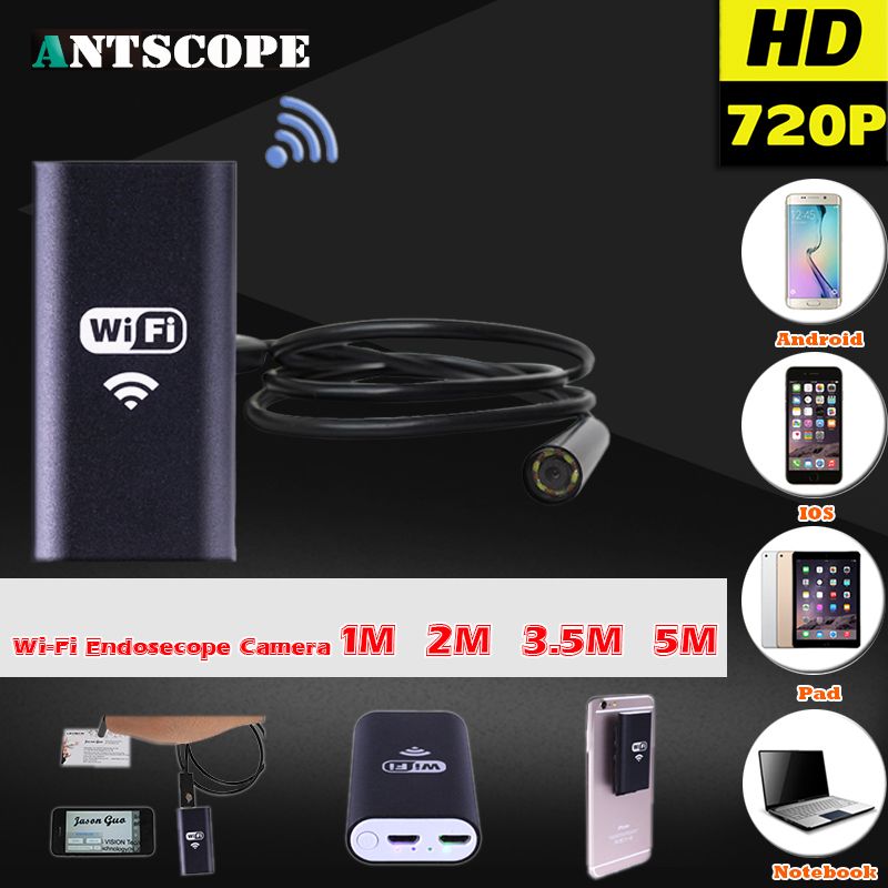 Android IOS USB 720P 8mm Endoscope Camera Wifi Endoscope 1M 2M 3.5M 5M Waterproof Snake Inspection Borescope Video Tube Mini Cam