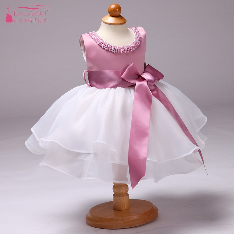 Knee Length Flower Girl Dresses New Arrival Sleeveless Organza Tiered Ruffle Kids Communion Dresses  JQ97