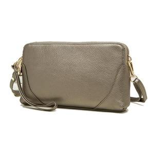 Image 5 - Moda donna borsa a tracolla borsa del cuoio genuino doppio disegno della chiusura lampo della pelle bovina tote di crossbody bag colori