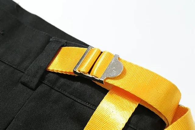 Men Yellow Ribbon Casual Harem Pants Male Fashion Hip Hop Loose Streetwear Trousers High Street Joggers Pants