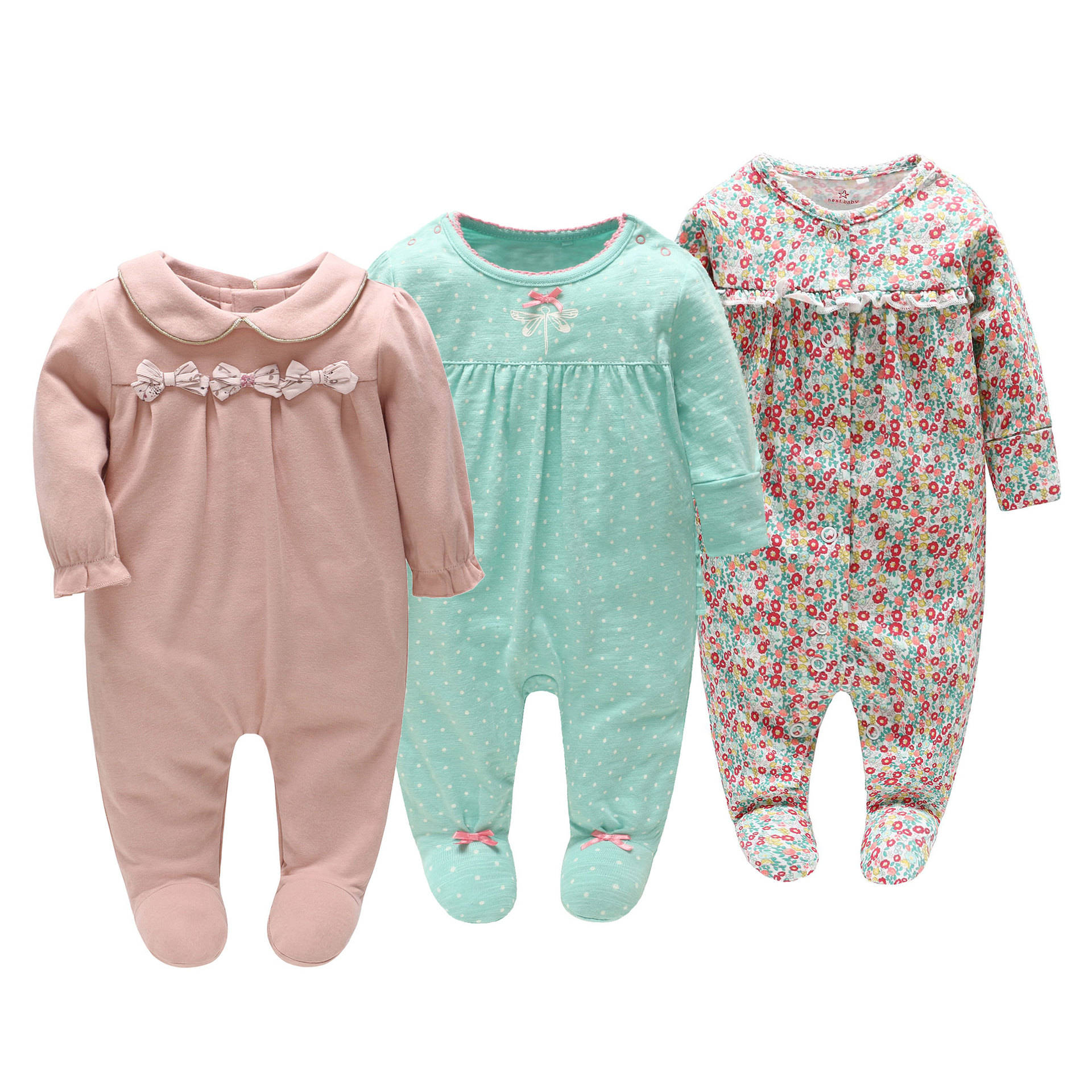 Picturesque Childhood new born Baby Girl 0-12 months Footies Cotton Long Sleeve Pink Neckline Bow Style цены