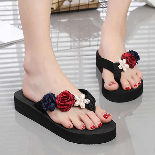 937b4dfe1 2018 New Summer Women Flip-Flop Sandal Flowers Lady Beach Casual Shoes Girl  Thong Flip