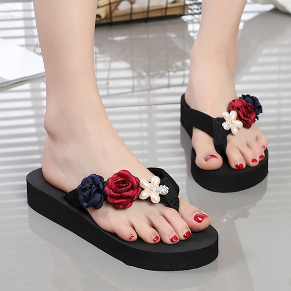 2018 New Summer Women Flip-Flop Sandal Flowers Lady Beach Casual Shoes Girl Thong Flip Flop LBY2018 walkmaxx man flip flop