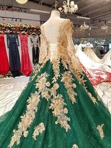 Image 4 - Vestido de baile manga longa tule flores miçangas verde luxo vestidos de noite 100% vestido de noite real 2020 festa kc71