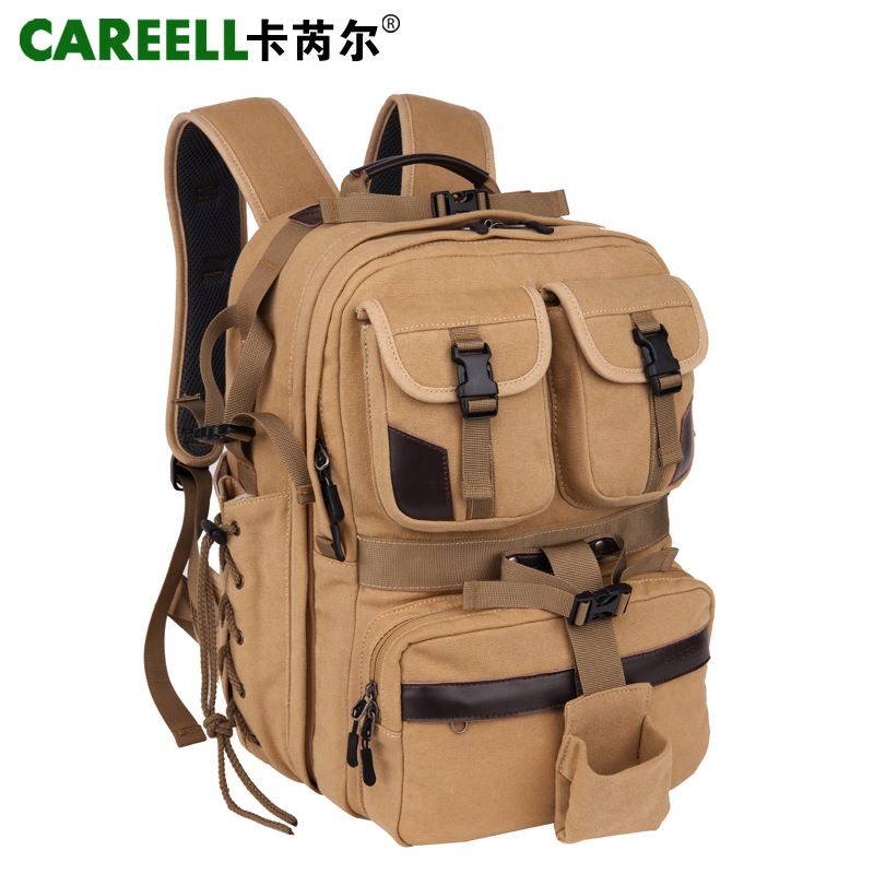 CAREELL Canvas Digital Large DSLR Camera Bag Professional Kamera Travel Photo Double shoulder Backpack Bag for