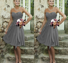 Simple Cheap Silver Grey Bridesmaid Dresses Knee Length Chiffon Sweetheart A-Line Open Back ruched Prom Dresses WD20