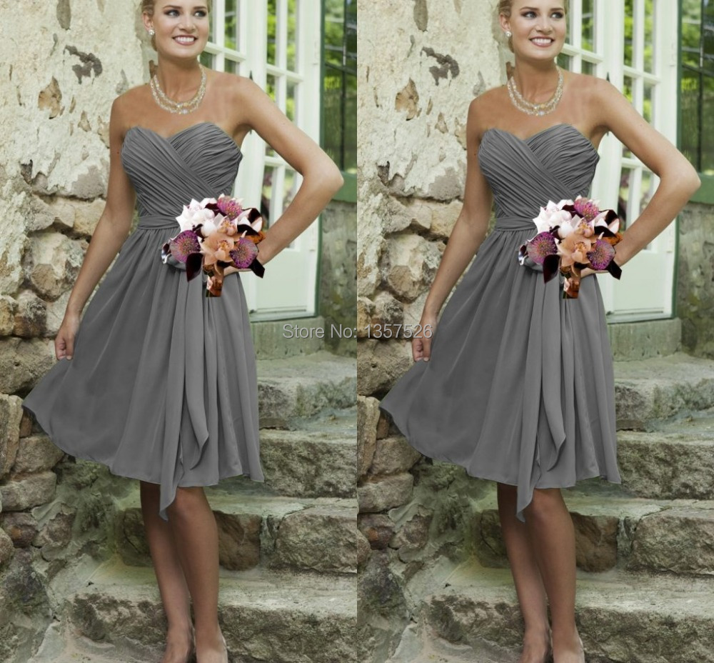 Wedding Grey Bridesmaid Dress popular silver grey bridesmaid dresses buy cheap simple knee length chiffon sweetheart a line open back ruched