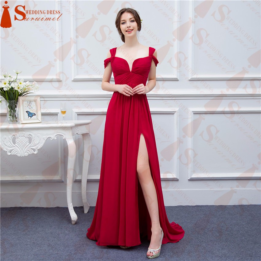 Bridesmaid Dresses 2017 Custom Made Navy Blue Color Chiffon Maid of Honor Dress Sexy High Slit Cheap Long Wedding Party Gowns 5