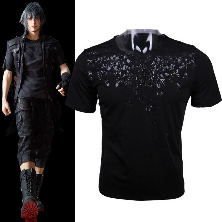 Final Fantasy XV FF15 FFXV Noctis Lucis Caelum Mens Cosplay Skull Short Sleeve Cotton O Neck T shirts Tee Shirts