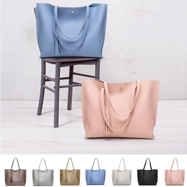 Simple Leather Solid Tassel Pendant Large Capacity Hand Bag