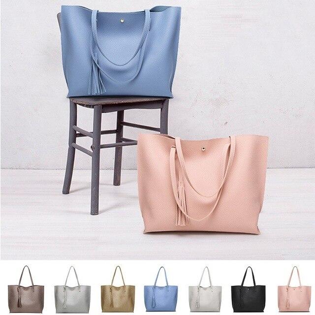 Simples Moda Bolsas 2018 Bolsas de Couro Das Mulheres Sólida Pingente de Borla Grande Capacidade Coreano Senhoras saco de Compras Saco De Mão de Viagem do saco das mulheres