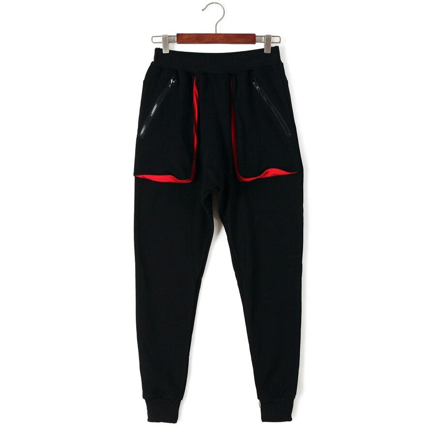 Black Solid Trousers Hop Women Cotton Femme Pants Sportwear Pencil Elastic Pantalon Hip For Women's Black Casual Harajuku red Waist rgrd1xwqX