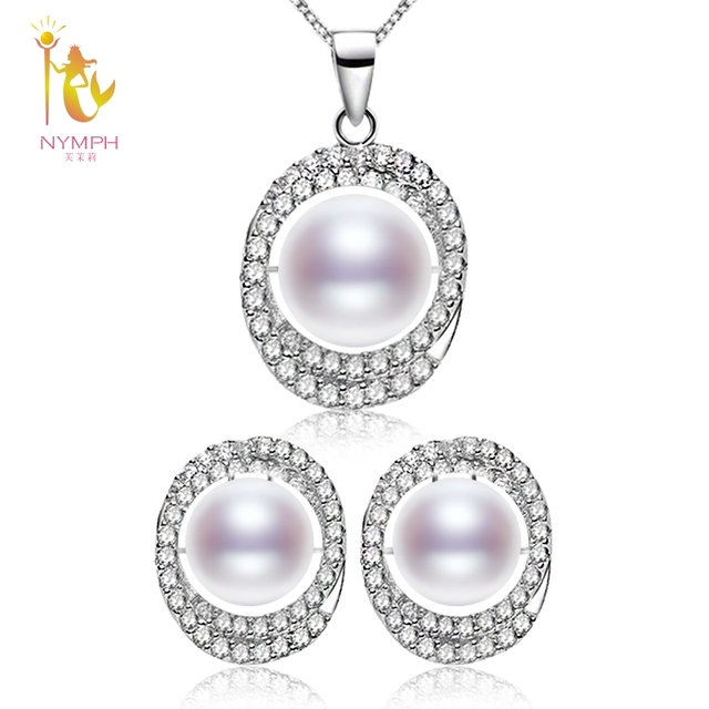 NYMPH Jewelry Sets Real Freshwater Pearl Earrings Necklace Pendant Maxi 10-11mm Natural Pearl For Women Wedding Party Gift T304