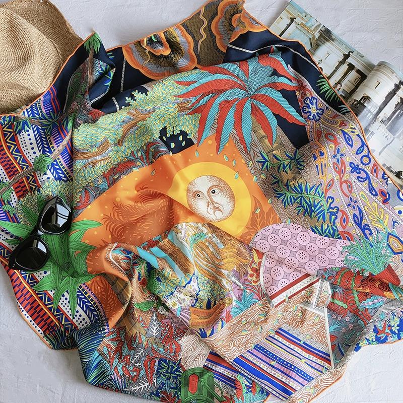 Real Silk Twill Scarf Fashion Women Shawl Headscarf Scarves Hijab Wraps Fourald Luxury Brand Midsummer Night