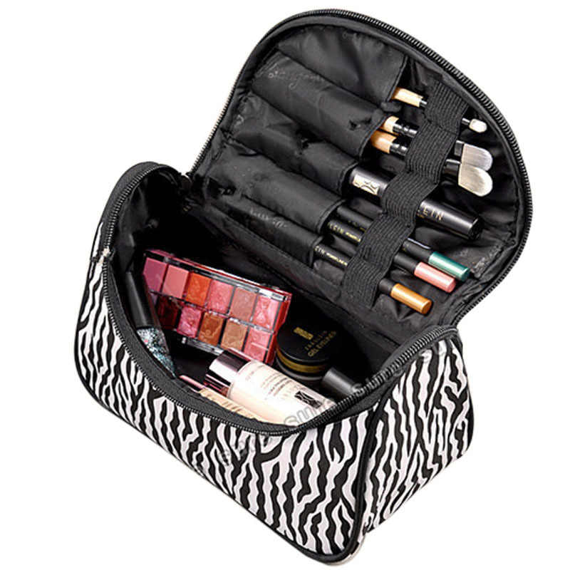 Necessaire Beauty Women Travel Toiletry Zipper Make Up Makeup Case Storage Cosmetic Bag With Mirror Organizer Box