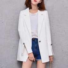 August NEW Female Casual Suit Slim MD-LONG Coat Long-Sleeved OUTERWEAR Large Size Cuff Split Design Fashion Queen All-Match