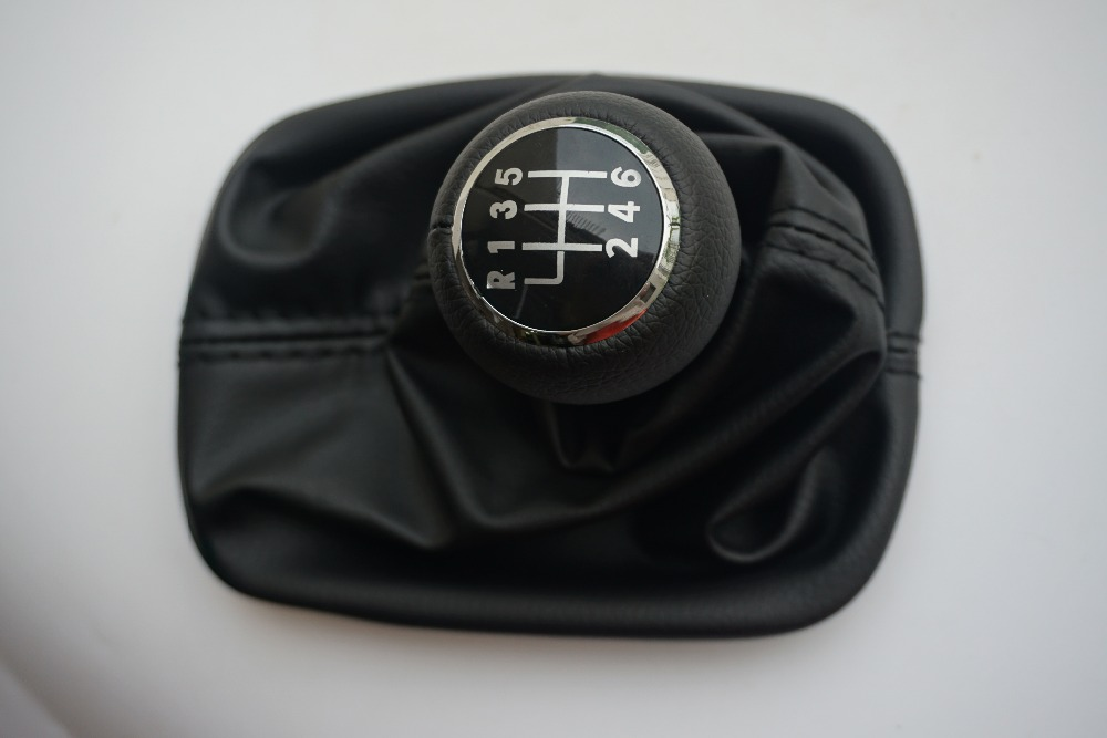FAT 6 Speed Car Gear Shift Knob Lever Gaitor Boot Cover Black for <font><b>Audi</b></font> A6 C5 <font><b>A4</b></font> <font><b>B5</b></font> A8 D2 1997 1998 <font><b>1999</b></font> 2000 2001 2002 2003 image