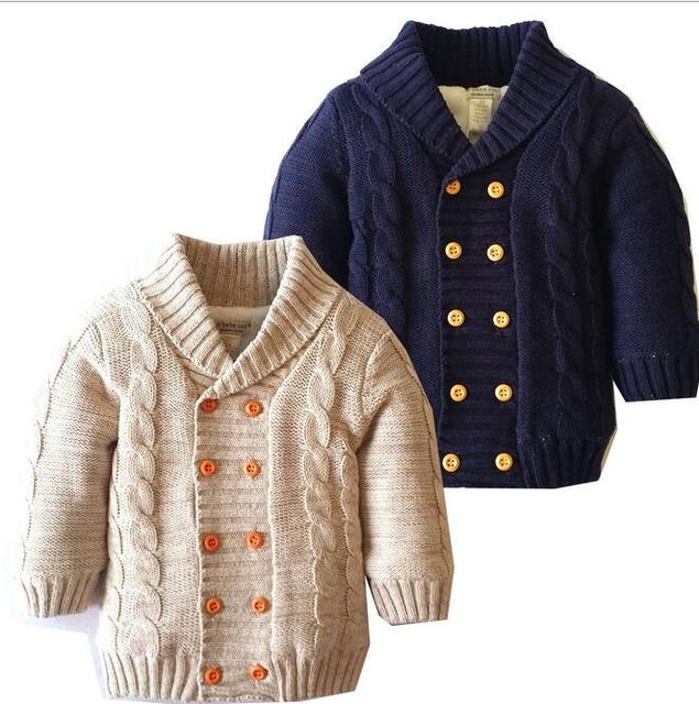 Boys and Girls Knit Double Breasted Cardigan 2017 Babies Fashion Knitted Sweater Children's Winter Christmas Outwear