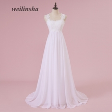 Fashion Plus Size Brudekjoler Elegant Appliques Beaded A-line Gulvlange Tulle Women Bridal Dress