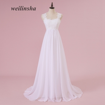 c4ce541b148 weilinsha Beach White Wedding Dresses Lace Chiffon Pregnant Brides Dresses  Cheap Sweep Train Wedding Gowns 2018 Vestido de Noiva