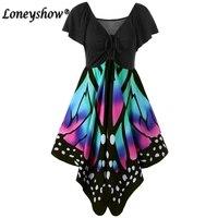 Loneyshow 90 Cotton Butterfly Design Print Dress Women Sexy V Neck Empire High Waist Beach Party