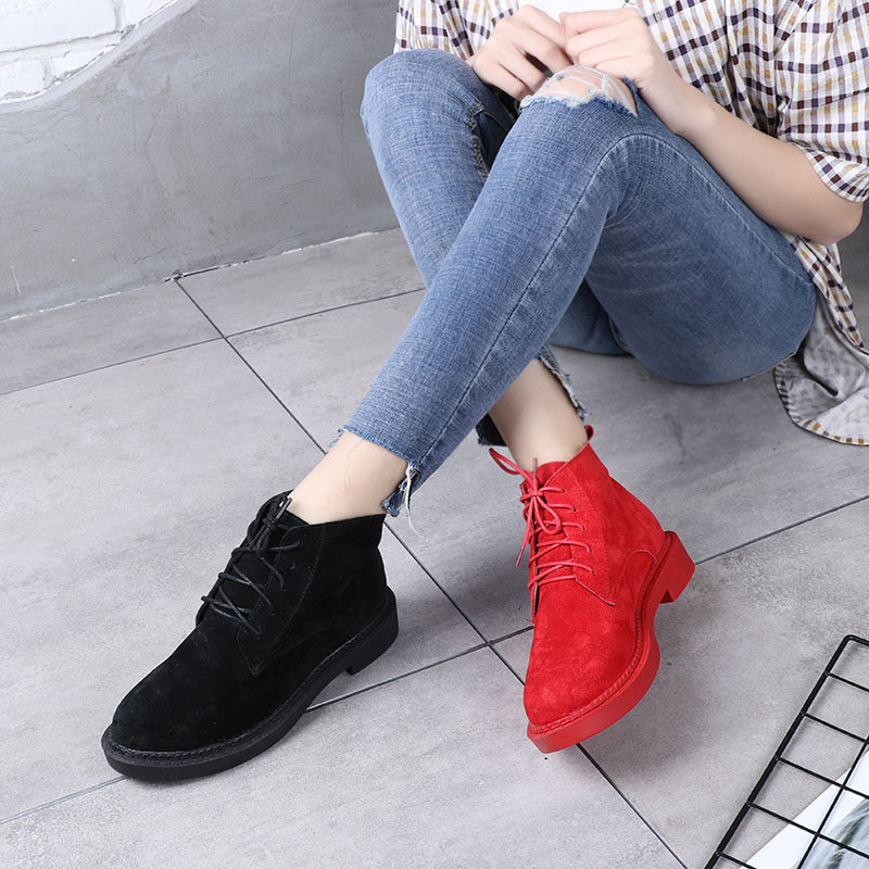 Spring Frosted Genuine Leather Martin Boots Female Casual Boots Fashion  Preppy Style Women s Shoes Flat Heels 3de9c192d676