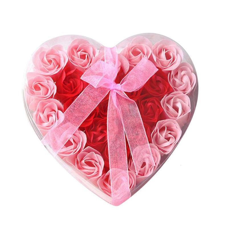 День Святого Валентина Hotsale 24 шт. Ароматические ванны тела цветка мыла лепесток розы ...