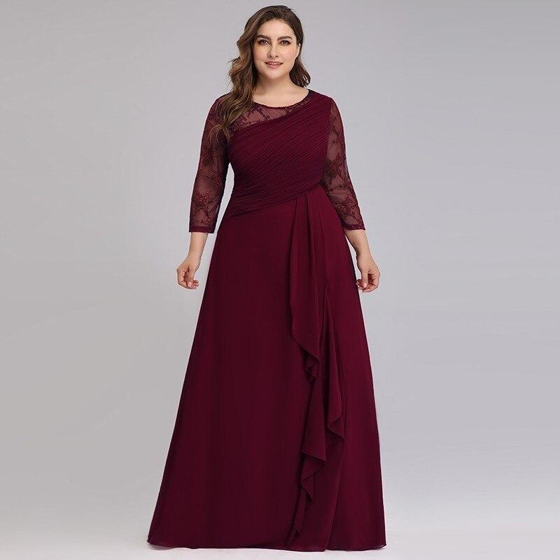 204 38 De Descuentovestido De Madre De Novia De Talla Grande Vestidos De Fiesta De Noche 2019 Elegantes De Encaje Línea A Chifón Manga Larga