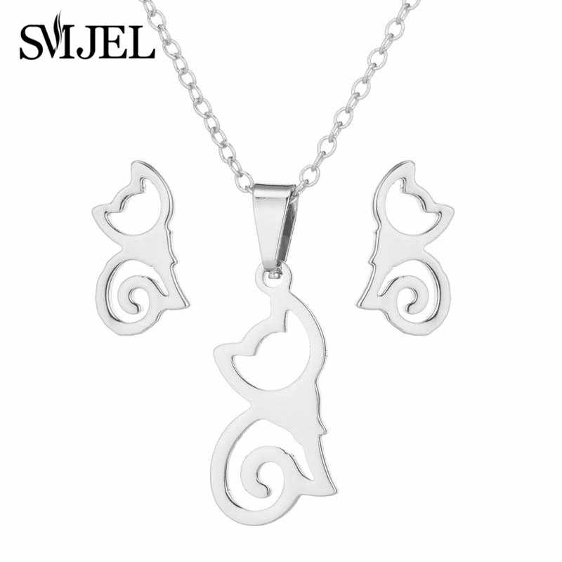 SMJEL New Arrival Stainless Steel Half Moon Necklaces for Women Girls Simple Crescent Cat Earrings Piercing Necklace Earrings