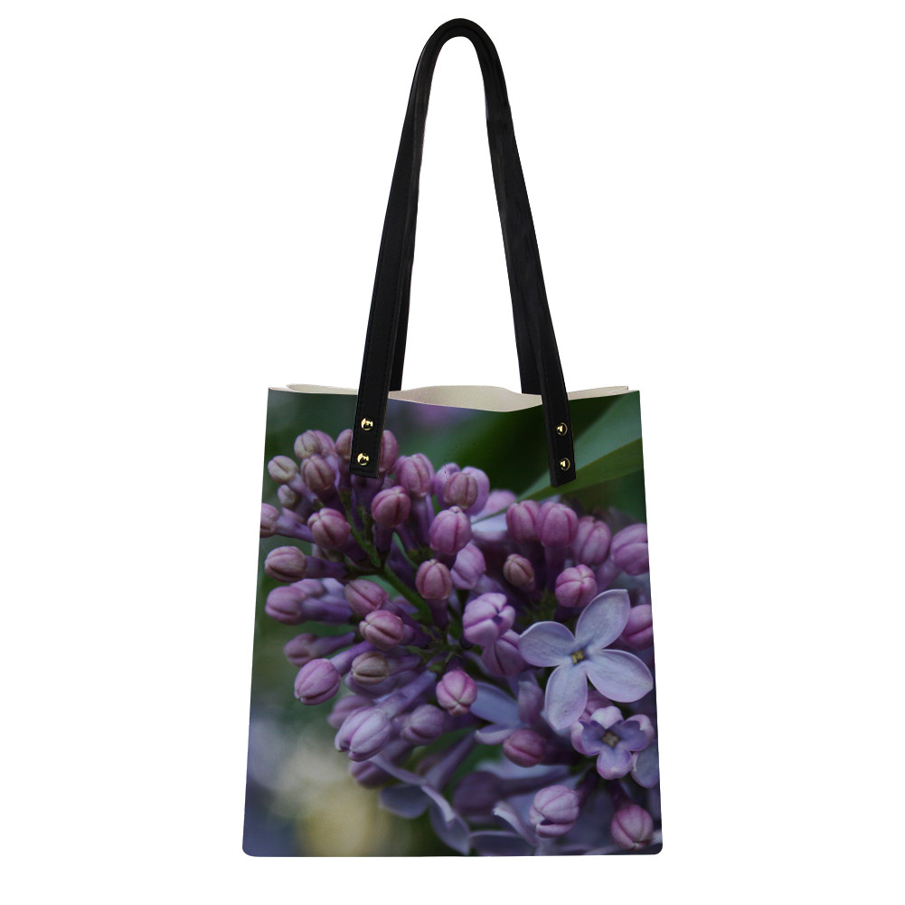Noisy Designs PU Leather Totes Bags Female Large Shoulder Bags Flower Printed Purple Shopping Bags For Teenager Girl eco bag