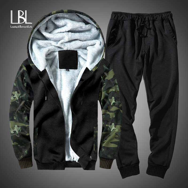 Winter Camouflage Set Men 2018 Casual Hooded Warm Sweatshirts Male Thicken Tracksuit 2 PCS Fleece Hoodies+Pant Moleton Masculino