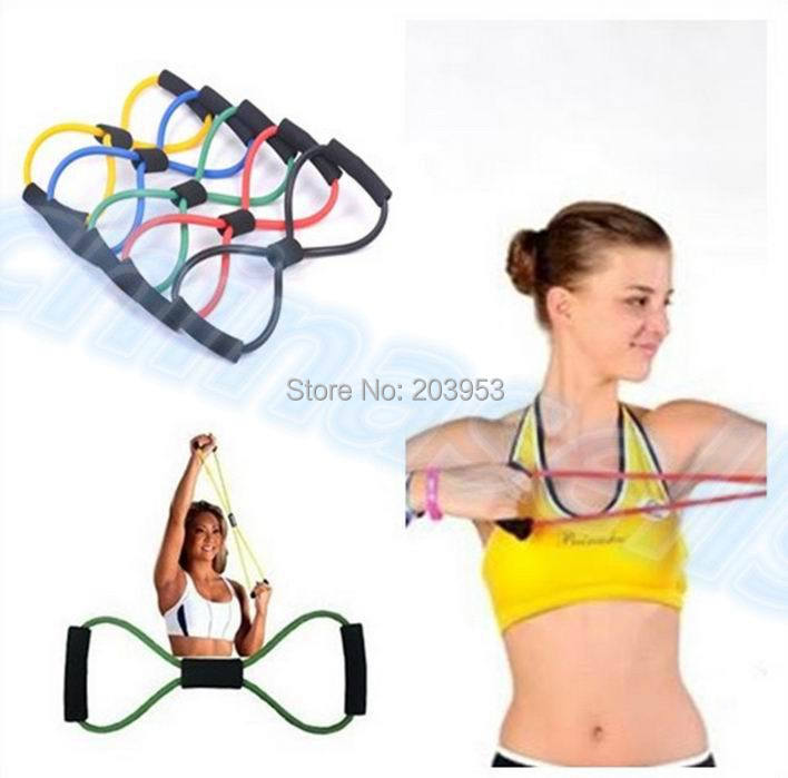 160pcs Fitness Resistance Exercise Bands Tubes Practical Elastic Training Rope Yoga 8 Pull Rope Pilates ABS Workout Cordages