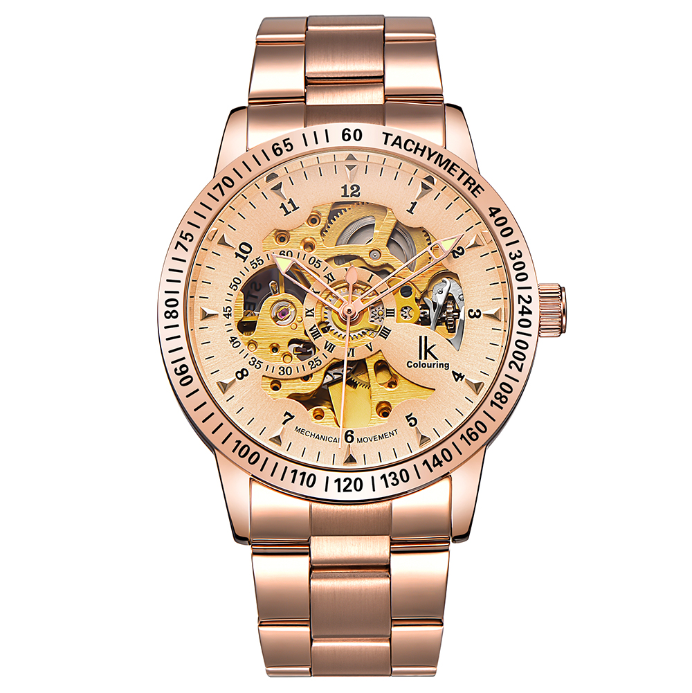 IK Colouring New Man Watch Luxury Rose Gold Steel Band Male Clock Automatic Mechanical Skeleton Watches Horloges Mannen ik colouring gold skeleton mechanical hand wind watches men luxury brand business dress silver steel watch male clock relogio