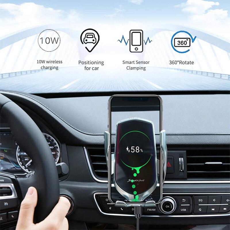 Hot Sale Wireless Charger font b Car b font Phone Holder 10W Fast Qi Charging Sense