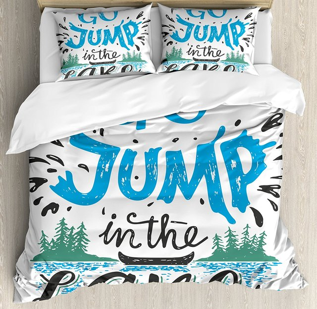 a7d055faa8c72 US $148.99 |Duvet Cover Set , Vintage Typography Inspiration Quote Lake  Sign Canoe Fishing Sports Theme,4 Piece Bedding Set-in Bedding Sets from  Home ...