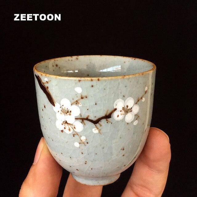 2pcs 60ml Japanese Style Coarse Pottery Teacup Crackle Glaze Plum Cup Kung Fu Tea Set Master Cup Ceramic Bowl Vintage Home Decor